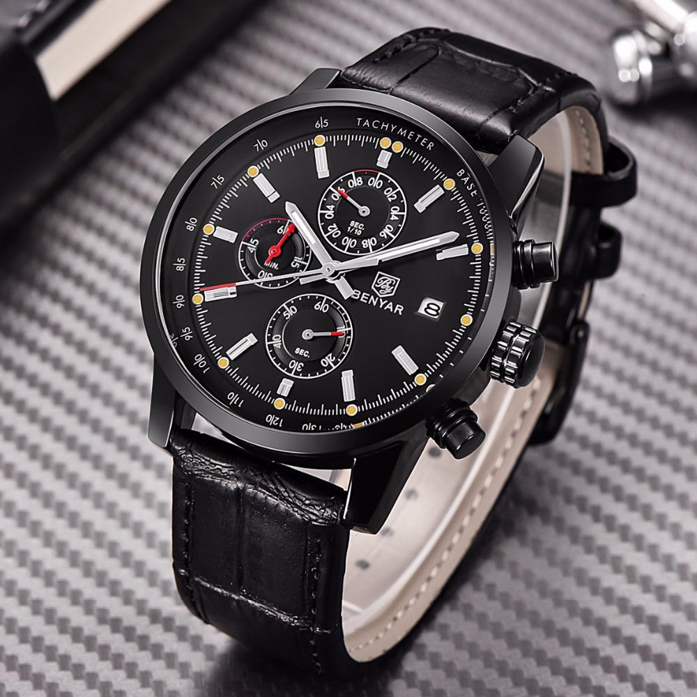 17329adf0d6 BENYAR Fashion Chronograph Sport Mens Watches Top Brand Luxury Quartz Watch  Reloj Hombre 2017 Clock Male hour relogio Masculino
