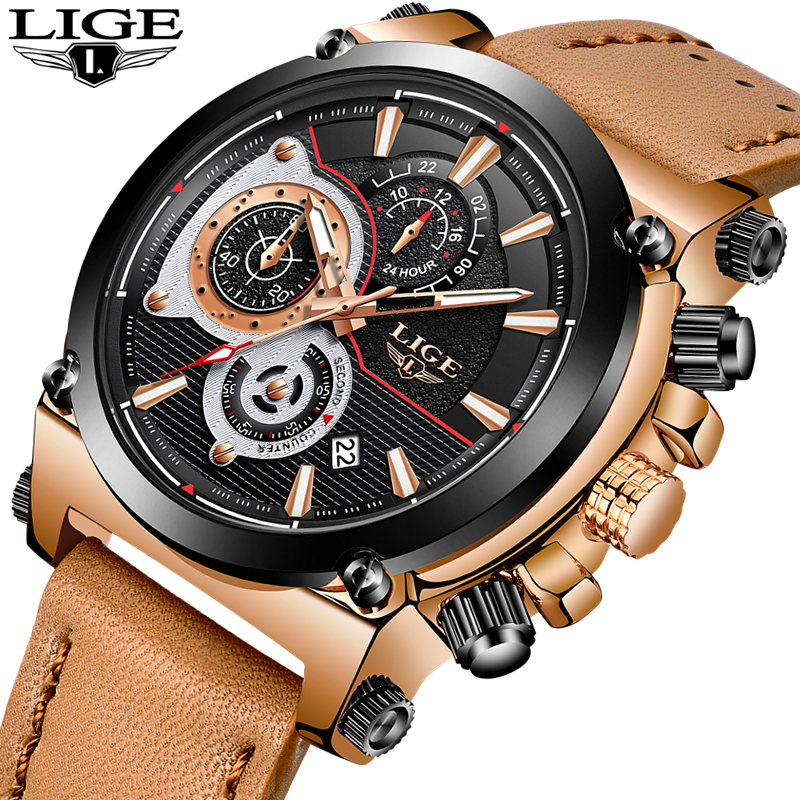 bef2ad0e2 LIGE Mens Watches Top Brand Luxury Quartz Gold Watch Men Casual Leather  Military Waterproof Sport Wrist Watch Relogio Masculino