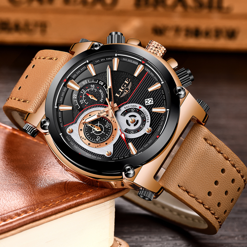 04d2e05c091 LIGE Mens Watches Top Brand Luxury Quartz Gold Watch Men Casual Leather  Military Waterproof Sport Wrist Watch Relogio Masculino