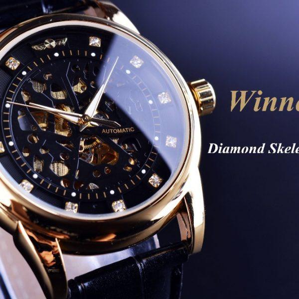 1f315ce24f1 Winner Royal Diamond Design Black Gold Watch Montre Homme Mens Watches Top  Brand Luxury Relogio Male Skeleton Mechanical Watch